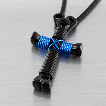 Thin-Blue-Line-Cross-Necklace